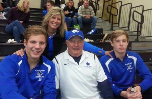 Mindi, both boys, and her father Billy.
